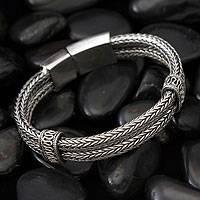 Sterling silver braided bracelet, 'Rivers of Life'