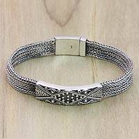 Sterling silver braided bracelet, Transcend