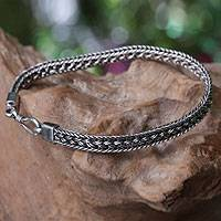 Mens sterling silver braided bracelet, Frozen Sunset