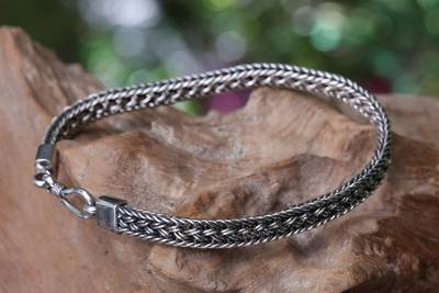 Men's sterling silver braided bracelet, 'Frozen Sunset' - Men's Artisan Handmade Sterling Silver Bracelet