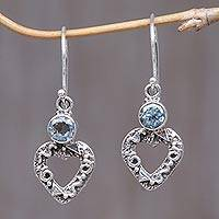 Blue topaz heart earrings, Romance
