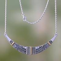Sterling silver pendant necklace, 'Balinese Princess' - Gold Accent Sterling Silver Pendant Necklace