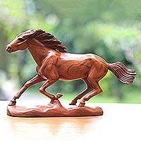 Wood statuette, 'Wild Beauty' - Wood Horse Statuette