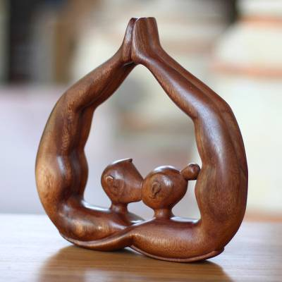 Wood statuette, 'Heart Kissing' - Unique Romantic Wood Sculpture from Indonesia