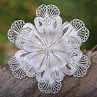Sterling silver brooch pin, 'Star Bloom' (Indonesia)
