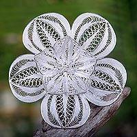 Sterling silver brooch pin, 'Peacock's Plumes' - Floral Sterling Silver Filigree Brooch Pin