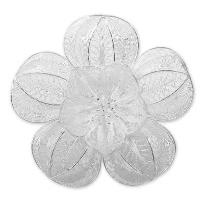 Floral Sterling Silver Filigree Brooch Pin