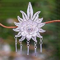 Sterling silver brooch pin, 'Flower on Fire' (Indonesia)