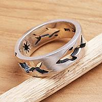 Sterling silver band ring, 'Shark Journey' - Handcrafted Sterling Silver Band Ring