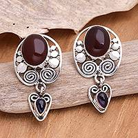 Amethyst and carnelian dangle earrings, 'Illusions' - Amethyst and carnelian dangle earrings