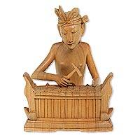 Wood statuette, 'Playing Gangsa' - Crocodile Wood Sculpture