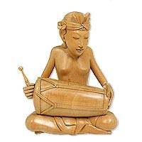 Wood statuette Playing Kendang Indonesia