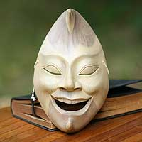 Wood mask, 'Joyous Moon Face'