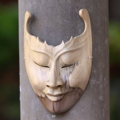 Wood mask, 'Cutout' - Modern Hibiscus Wood Mask