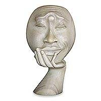 Wood sculpture, 'Man in Thought I'  - Light Colored Hibiscus Wood Face Sculpture