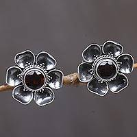 Garnet earrings, 'Red-Eyed Rose' - Garnet Sterling Silver Floral Button Earrings