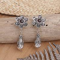 Garnet dangle earrings, 'Goyang Rose' - Garnet Floral Sterling Silver Earrings