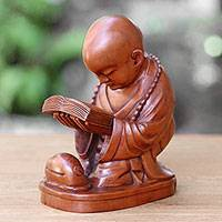 Wood statuette, 'Reading Buddha'  - Artisan Crafted Mahogany Wood Sculpture