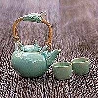 Ceramic tea set, 'Frog Serenade' (set for 2) - Ceramic tea set (Set for 2)