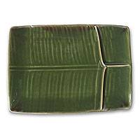 Stoneware ceramic serving platter, 'Square Leaf' - Stoneware Ceramic Serving Platter