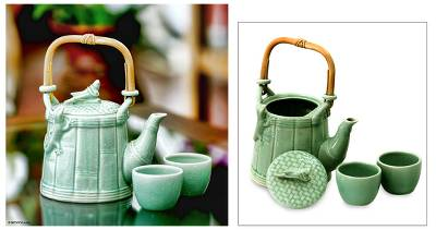 Ceramic tea set, 'Cricket and Gecko in Green' (set for 2) - Ceramic tea set (Set for 2)