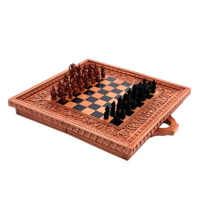 Wood chess set, 'Gods of War' - Wood chess set