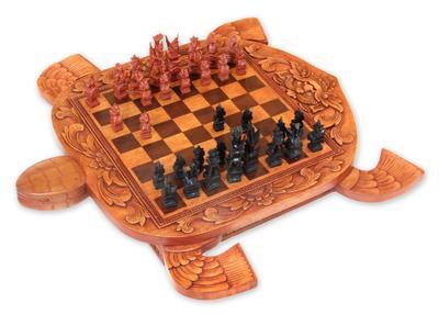 Artisan Hand Carved Wood Chess Set Flowery Turtle Novica