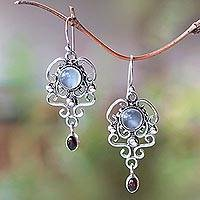 Moonstone and garnet dangle earrings, 'Spirit Chandelier' - Moonstone and garnet dangle earrings