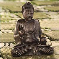 Wood statuette, 'Buddha the Teacher' - Wood statuette