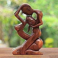 Wood statuette, 'Upside-down Kissing' - Romantic Wood Sculpture