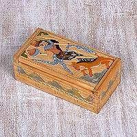 Wood jewelry box, 'Legend of Sita and the Golden Deer II' - Handcarved Wood Jewelry Box from Indonesia