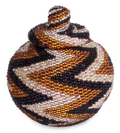 Beaded rattan basket, 'Small Thunder' - Geometric Pattern Beaded Rattan Basket with Lid