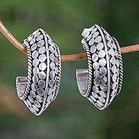 Sterling silver half hoop earrings, 'Snakeskin Hoops' - Sterling Silver Half Hoop Earrings from Indonesia