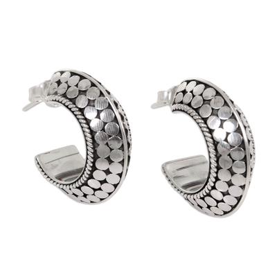 Sterling Silver Half Hoop Earrings from Indonesia