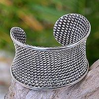 Sterling silver cuff bracelet, 'Dream Weaver' - Dreamy Sterling Silver Cuff Bracelet Fair Trade Jewelry