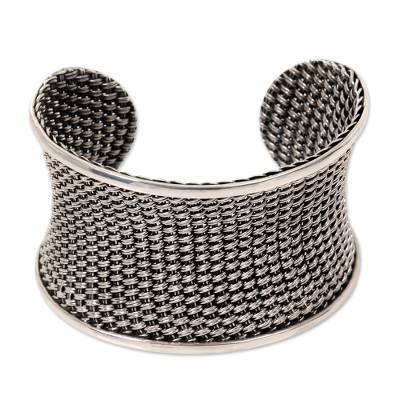 Unique Woven Sterling Silver Wide Cuff Bracelet from Bali