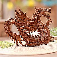 Wood relief panel, 'Winged Dragon Figure' - Artisan Crafted Wood Relief Panel