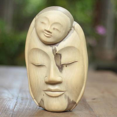 Wood mask, 'Mother Love' - Modern Wood Mask from Indonesia