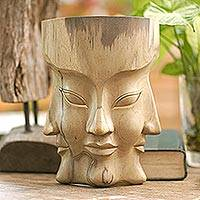 Wood mask, 'Three Dimensions' - Hand Carved Hibiscus Wood Mask