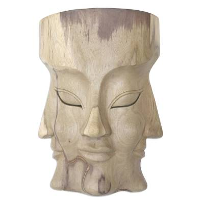 Hand Carved Hibiscus Wood Mask