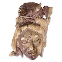 Wood mask, 'Dolphin Lady' - Wood mask
