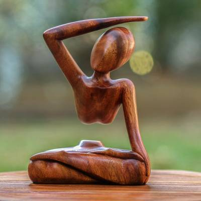Wood statuette, 'Graceful Arc' - Original Wood Yoga Sculpture