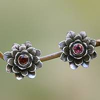 Garnet flower earrings, 'Red-Eyed Lotus' - Floral Sterling Silver Garnet Earrings