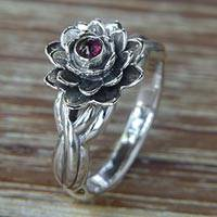 Garnet cocktail ring, 'Red-Eyed Lotus' - Handcrafted Floral Sterling Silver and Garnet Ring