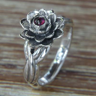 Garnet cocktail ring, Red-Eyed Lotus
