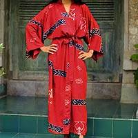 Women's batik robe, 'Cardinal Red' - Women's Artisan Crafted Batik Patterned Robe