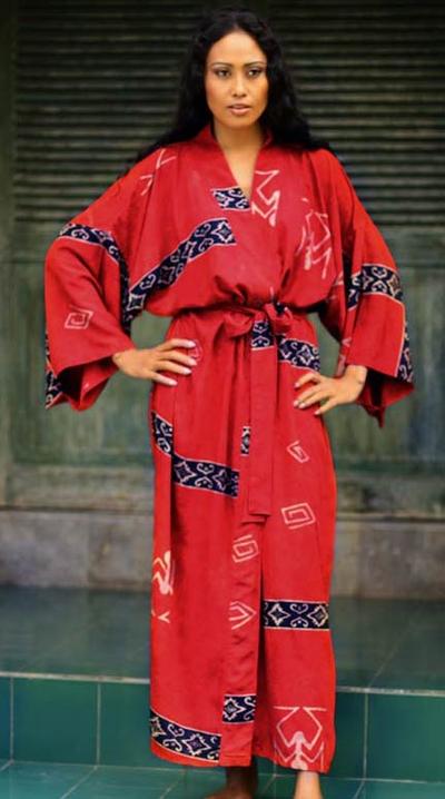 Women's batik robe, 'Cardinal Red' - Women's Artisan Crafted Batik Patterned Robe