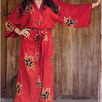 Women's batik robe, 'Hibiscus Red' - Handcrafted Indonesian Batik Robe