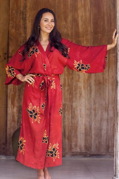 Women's batik robe, 'Hibiscus Red' - Hand Made Batik Robe from Indonesia