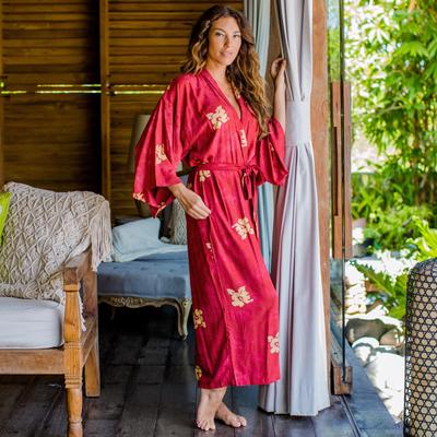 Rayon batik robe, 'Red Passion' - Handmade Batik Robe